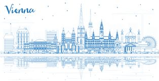 Horizon de ville de Vienne Autriche d'ensemble avec les bâtiments bleus et le Refl illustration de vecteur