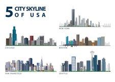 Horizon de 5 villes des Etats-Unis Photo stock