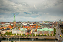 Horizon de vue aérienne de Copenhague Image libre de droits
