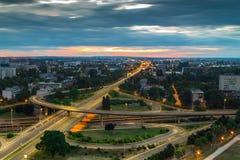 Horizon de Zagreb au lever de soleil Photo libre de droits