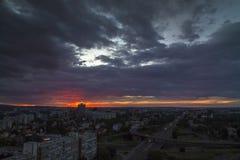 Horizon de Zagreb au lever de soleil Images stock