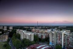 Horizon de Zagreb au lever de soleil Photographie stock