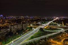 Horizon de Zagreb la nuit Images libres de droits