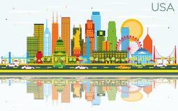 Horizon des Etats-Unis avec des gratte-ciel, des points de repère et des réflexions de couleur illustration libre de droits