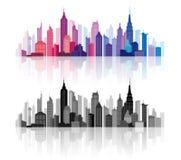 Horizon du centre de silhouettes de bâtiments de vecteur illustration de vecteur