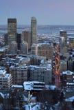 Horizon du centre Montréal au crépuscule Images libres de droits