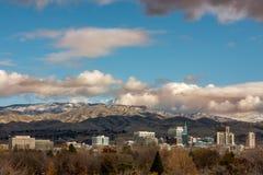 Horizon en de Boise City d'automne avec des nuages de clairière Images libres de droits