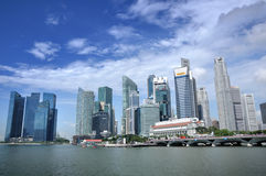 Horizon et fleuve de district des affaires de Singapour Photo stock