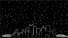 Horizon Etats-Unis de Pittsburgh, Pennsylvanie Silhouette détaillée, conception plate, belle ombre, deux ponts, couleur noire, mi Images libres de droits