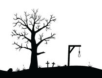 Horizon with gallows. Vector illustration of horizon with gallows, graves and deciduous tree Stock Photography