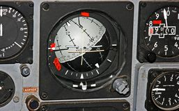 Horizon Indicator Gauge on aircrft control panel Royalty Free Stock Photography