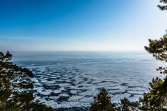 The horizon of lake Baika. L with a view on the frozen ice, winter 2018, Siberia, Russia Stock Image