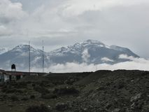 Horizon landscape with clouds and snow on mountain. Arequipa, Peru Royalty Free Stock Images