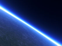 Horizon Line. A Planets Horizon line viewed from space. 3D rendered Stock Photo