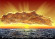 Horizon. Majestic sunset, clouds and sea Royalty Free Stock Images