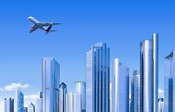 Horizon moderne avec l'avion Photographie stock