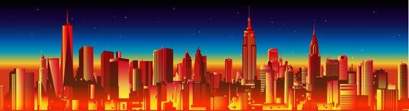 horizon neuf York de nuit illustration libre de droits