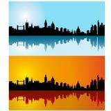 Horizon noir de silhouette de Londres de vecteur le jour Image stock