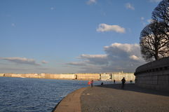 Horizon. North gorod.Rossiya St. Pererburge. Neva River, the palace, the sky was, clouds of dark smoke, God shakes ash when Stock Photography