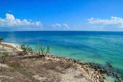Recovering beach area of beautiful Florida Keys beach after being destroyed by Hurricane Irma in 2017. Horizon over gorgeous aqua blue ocean in the distance royalty free stock photos