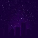 Horizon pourpré de ville Photo libre de droits