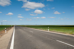 Horizon and road. Road perspective in central region of  Spain Stock Image