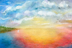 Horizon. Seascape, abstraction, watercolor illustration and paper texture royalty free illustration