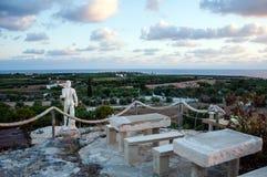 Horizon with statue. Beautiful Cyprus sea horizon before the sunset Stock Photos