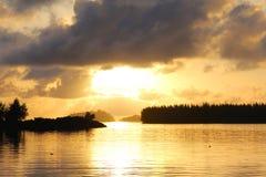 Horizon in sunset on seaside Royalty Free Stock Images