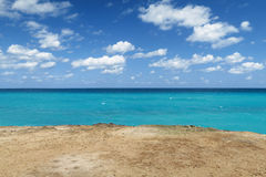 Horizon three-color. Hot tropical day at the Atlantic ocean, on the coast of Cuba Stock Photography