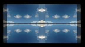 Horizon thru window. Horizon and clouds reflecting off  calm water through a window abstract Stock Image