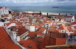 Horizon van Alfama Lissabon stock foto's