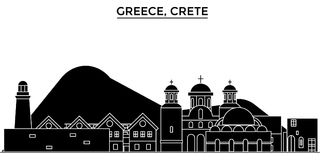 Horizon van de de architectuur isoleerde de vectorstad van Griekenland, Kreta, reiscityscape met oriëntatiepunten, gebouwen, gezi royalty-vrije illustratie