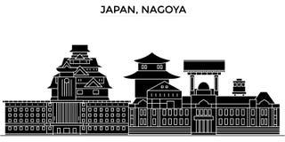 Horizon van de de architectuur isoleerde de vectorstad van Japan, Nagoya, reiscityscape met oriëntatiepunten, gebouwen, gezichten vector illustratie