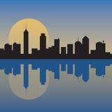 Horizon van de stad bij dageraad royalty-vrije illustratie
