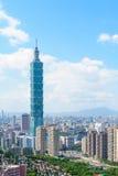 Horizon van de stad van Taipeh met het hoogste gebouw in Taiwan Stock Foto's