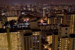 Horizon van de voorsteden van Singapore bij nacht Royalty-vrije Stock Foto's