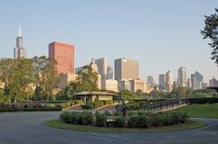 Horizon van het de kustpark Van de binnenstad van Chicago en van het meer royalty-vrije stock fotografie