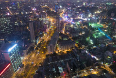 Horizon van Ho Chi Minh-stad 's nachts, Vietnam Stock Afbeelding