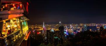 Horizon van Hongkong bij nacht royalty-vrije stock foto's