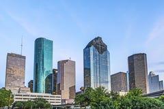 Horizon van Houston in de avond royalty-vrije stock foto