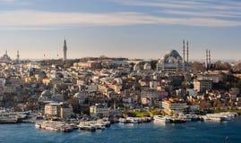 Horizon van Istanboel; Leymaniye moskee SÃ ¼ in het recht Stock Afbeeldingen