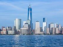 Horizon van Lower Manhattan bij schemer Stock Foto's
