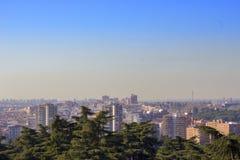 Horizon van Madrid met verontreiniging Royalty-vrije Stock Foto's