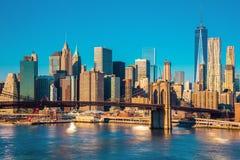 Horizon van New York van de binnenstad bij het ochtendlicht, New York CIT Stock Foto's