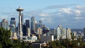 Horizon van Seattle en MT de van de binnenstad Regenachtiger, Washington royalty-vrije stock fotografie