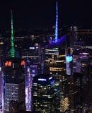 Horizon van Times Square bij Nacht Stock Afbeelding