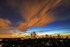 Horizon van uit het stadscentrum Toronto in het donker stock foto's
