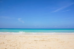 Horizon view of the caribbean. Panoramic view of caribbean sea on an empty beach Stock Photos