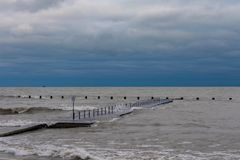 Dark Cold Day on Lake Michigan in Chicago stock images